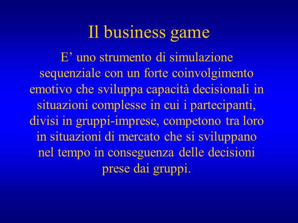 Il business game E uno strumento di simulazione sequenziale con un forte coinvolgimento emotivo che sviluppa capacità decisionali in situazioni comple