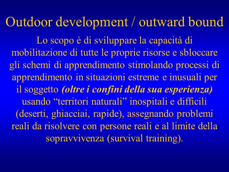 Outdoor development / outward bound Lo scopo è di sviluppare la capacità di mobilitazione di tutte le proprie risorse e sbloccare gli schemi di appren