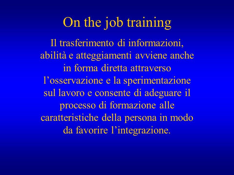 On the job training Il trasferimento di informazioni, abilità e atteggiamenti avviene anche in forma diretta attraverso losservazione e la sperimentaz