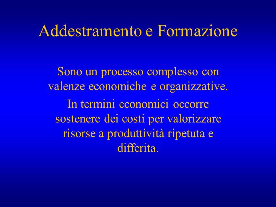 Addestramento e Formazione Sono un processo complesso con valenze economiche e organizzative. In termini economici occorre sostenere dei costi per val