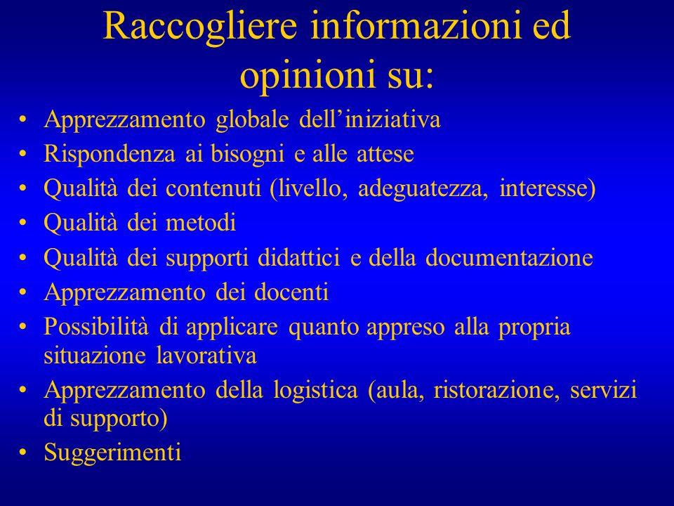 Raccogliere informazioni ed opinioni su: Apprezzamento globale delliniziativa Rispondenza ai bisogni e alle attese Qualità dei contenuti (livello, ade