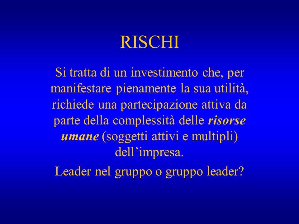RISCHI Si tratta di un investimento che, per manifestare pienamente la sua utilità, richiede una partecipazione attiva da parte della complessità dell