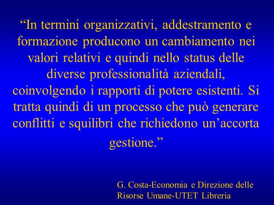 In termini organizzativi, addestramento e formazione producono un cambiamento nei valori relativi e quindi nello status delle diverse professionalità