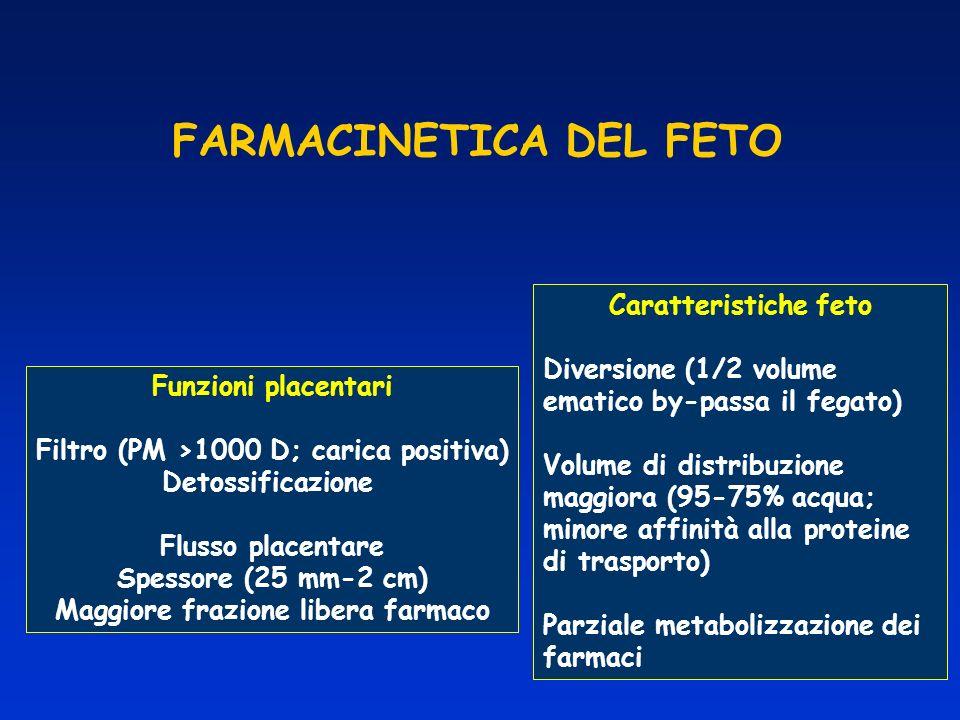 FARMACINETICA DEL FETO Funzioni placentari Filtro (PM >1000 D; carica positiva) Detossificazione Flusso placentare Spessore (25 mm-2 cm) Maggiore fraz