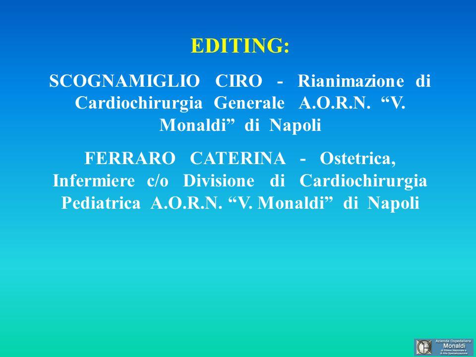 EDITING: SCOGNAMIGLIO CIRO - Rianimazione di Cardiochirurgia Generale A.O.R.N. V. Monaldi di Napoli FERRARO CATERINA - Ostetrica, Infermiere c/o Divis