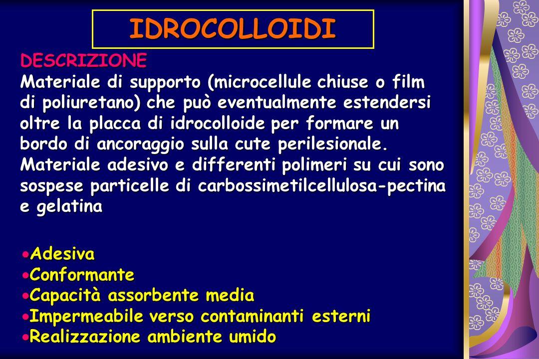 IDROCOLLOIDI DESCRIZIONE Materiale di supporto (microcellule chiuse o film di poliuretano) che può eventualmente estendersi oltre la placca di idrocol