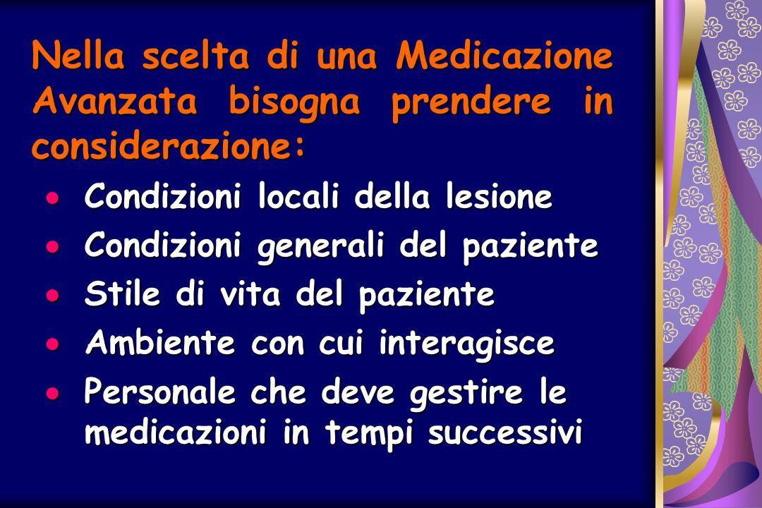 Nella scelta di una Medicazione Avanzata bisogna prendere in considerazione: Condizioni locali della lesione Condizioni locali della lesione Condizion