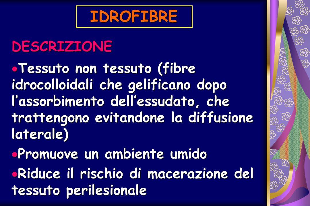 IDROFIBRE DESCRIZIONE Tessuto non tessuto (fibre idrocolloidali che gelificano dopo lassorbimento dellessudato, che trattengono evitandone la diffusio
