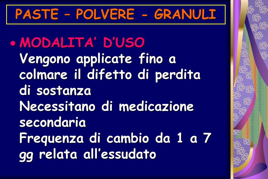MODALITA DUSO Vengono applicate fino a colmare il difetto di perdita di sostanza Necessitano di medicazione secondaria Frequenza di cambio da 1 a 7 gg