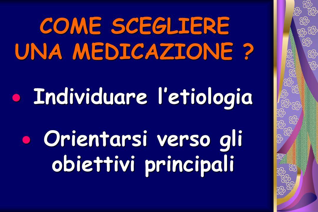 COME SCEGLIERE UNA MEDICAZIONE ? Individuare letiologia Individuare letiologia Orientarsi verso gli obiettivi principali Orientarsi verso gli obiettiv