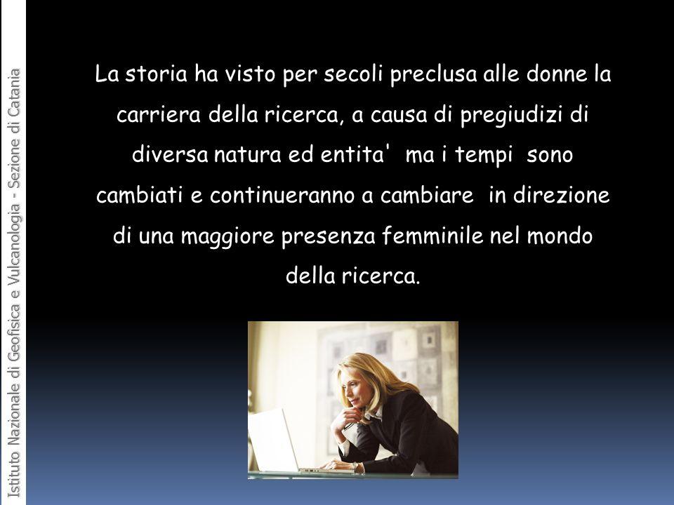 Istituto Nazionale di Geofisica e Vulcanologia - Sezione di Catania La storia ha visto per secoli preclusa alle donne la carriera della ricerca, a cau