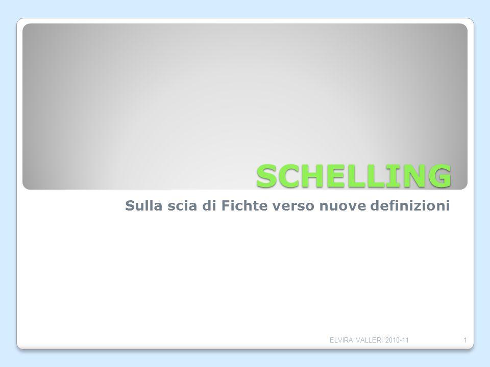 SCHELLING Sulla scia di Fichte verso nuove definizioni 1ELVIRA VALLERI 2010-11