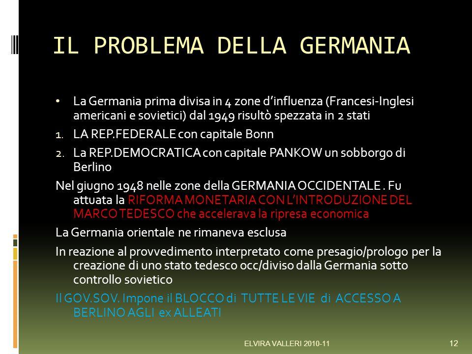 IL PROBLEMA DELLA GERMANIA La Germania prima divisa in 4 zone dinfluenza (Francesi-Inglesi americani e sovietici) dal 1949 risultò spezzata in 2 stati 1.