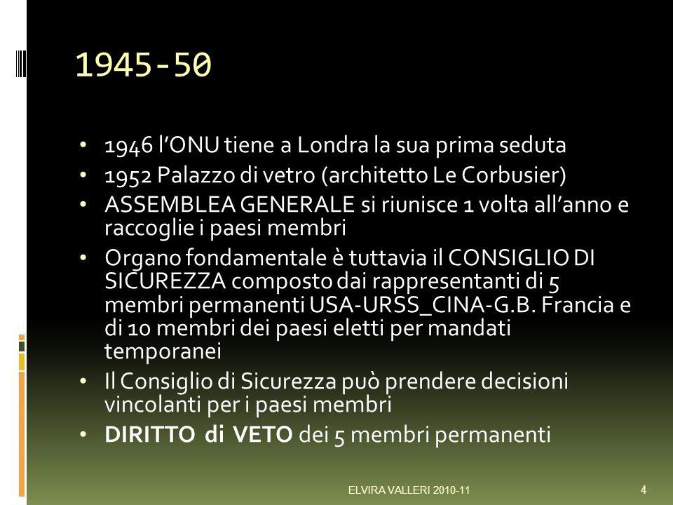 1945-50 1946 lONU tiene a Londra la sua prima seduta 1952 Palazzo di vetro (architetto Le Corbusier) ASSEMBLEA GENERALE si riunisce 1 volta allanno e raccoglie i paesi membri Organo fondamentale è tuttavia il CONSIGLIO DI SICUREZZA composto dai rappresentanti di 5 membri permanenti USA-URSS_CINA-G.B.