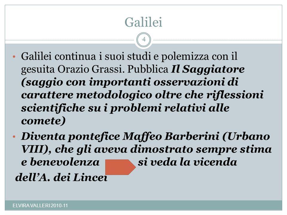 Galilei Galilei continua i suoi studi e polemizza con il gesuita Orazio Grassi. Pubblica Il Saggiatore (saggio con importanti osservazioni di caratter