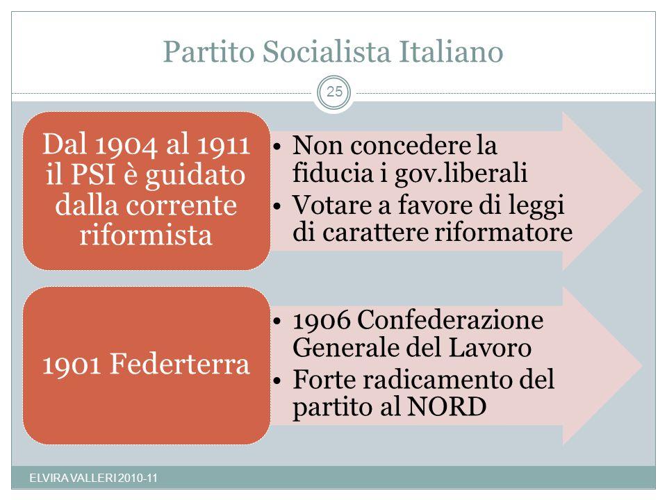 Partito Socialista Italiano ELVIRA VALLERI 2010-11 25 Non concedere la fiducia i gov.liberali Votare a favore di leggi di carattere riformatore Dal 19