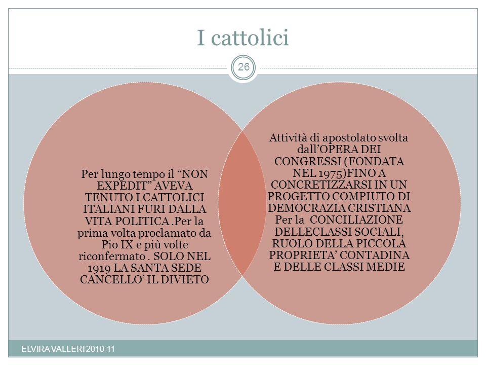 I cattolici ELVIRA VALLERI 2010-11 26 Per lungo tempo il NON EXPEDIT AVEVA TENUTO I CATTOLICI ITALIANI FURI DALLA VITA POLITICA.Per la prima volta pro