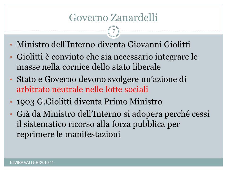 Governo Zanardelli ELVIRA VALLERI 2010-11 7 Ministro dellInterno diventa Giovanni Giolitti Giolitti è convinto che sia necessario integrare le masse n