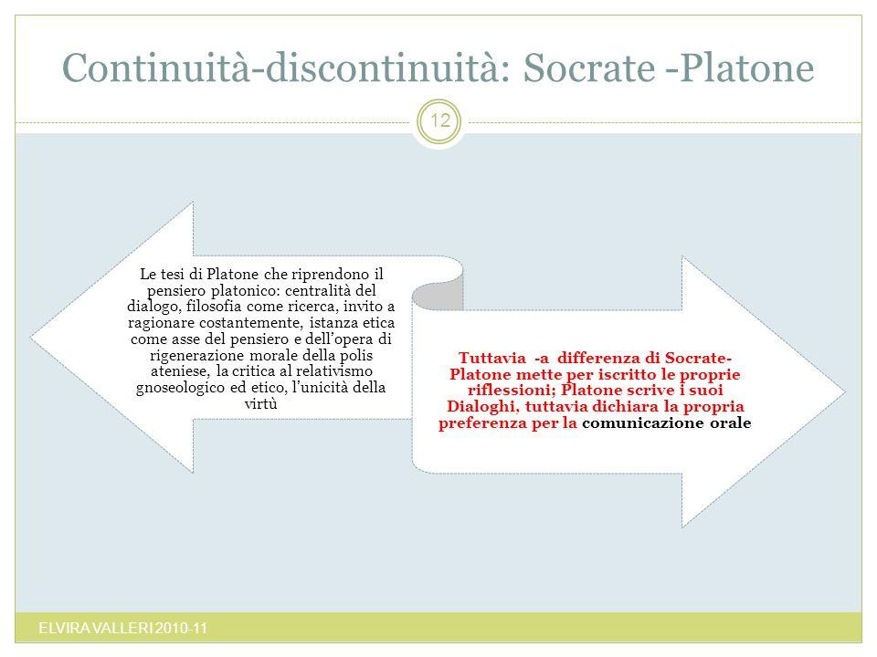 Continuità-discontinuità: Socrate -Platone ELVIRA VALLERI 2010-11 12 Le tesi di Platone che riprendono il pensiero platonico: centralità del dialogo,