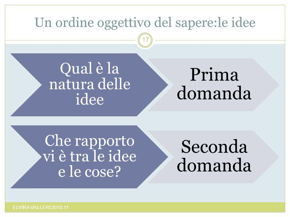 Un ordine oggettivo del sapere:le idee ELVIRA VALLERI 2010-11 17 Qual è la natura delle idee Prima domanda Che rapporto vi è tra le idee e le cose? Se