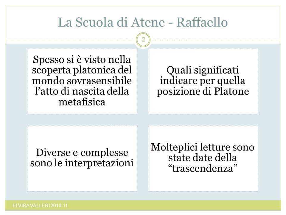 La Scuola di Atene - Raffaello ELVIRA VALLERI 2010-11 2 Spesso si è visto nella scoperta platonica del mondo sovrasensibile latto di nascita della met