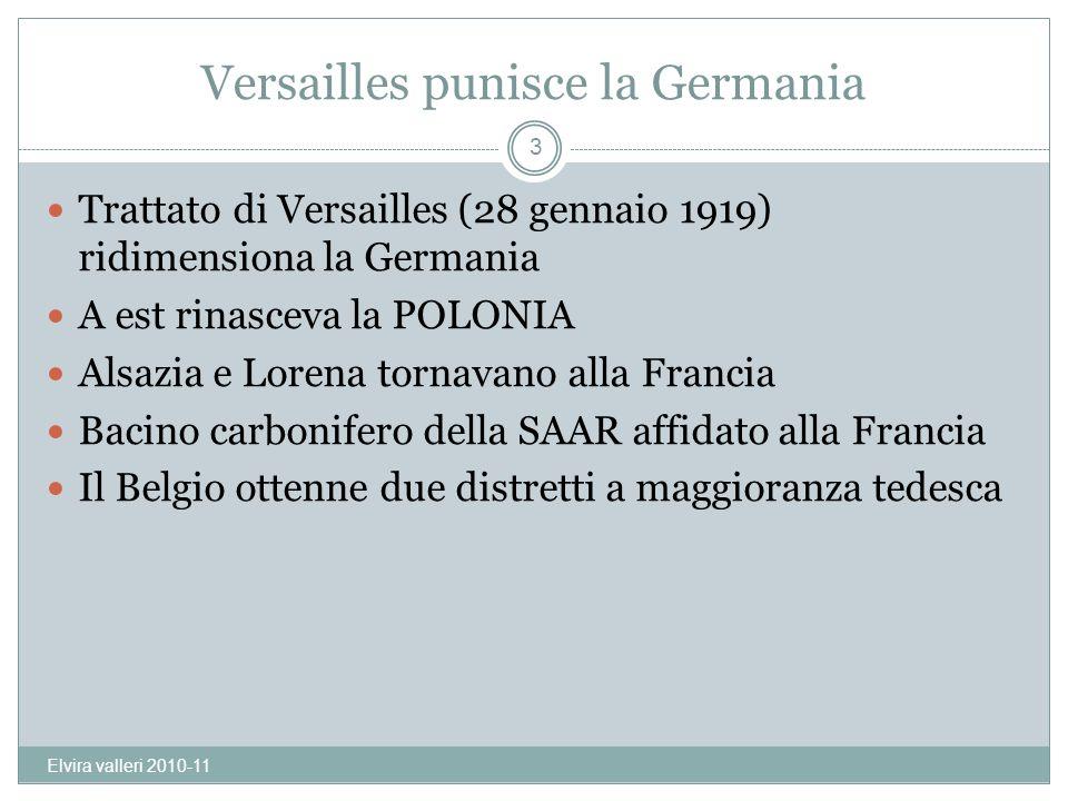 Versailles punisce la Germania Trattato di Versailles (28 gennaio 1919) ridimensiona la Germania A est rinasceva la POLONIA Alsazia e Lorena tornavano