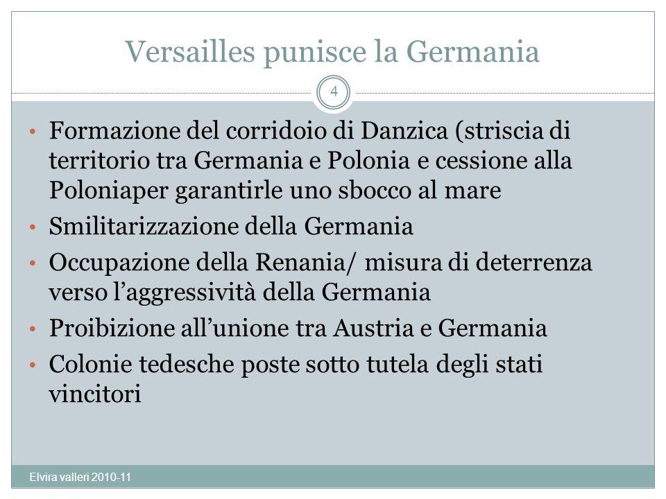Versailles punisce la Germania Formazione del corridoio di Danzica (striscia di territorio tra Germania e Polonia e cessione alla Poloniaper garantirl