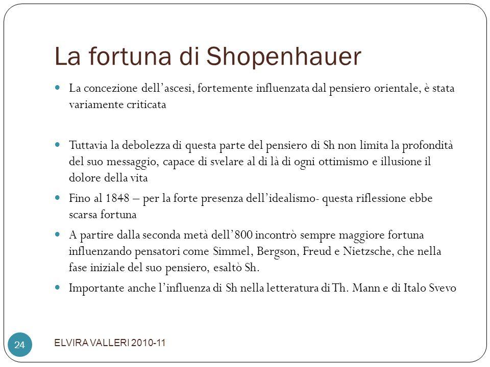 La fortuna di Shopenhauer ELVIRA VALLERI 2010-11 24 La concezione dellascesi, fortemente influenzata dal pensiero orientale, è stata variamente critic