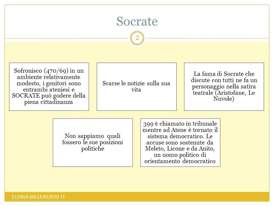 Socrate ELVIRA VALLERI 2010-11 2 Sofronisco (470/69) in un ambiente relativamente modesto, i genitori sono entrambi ateniesi e SOCRATE può godere dell