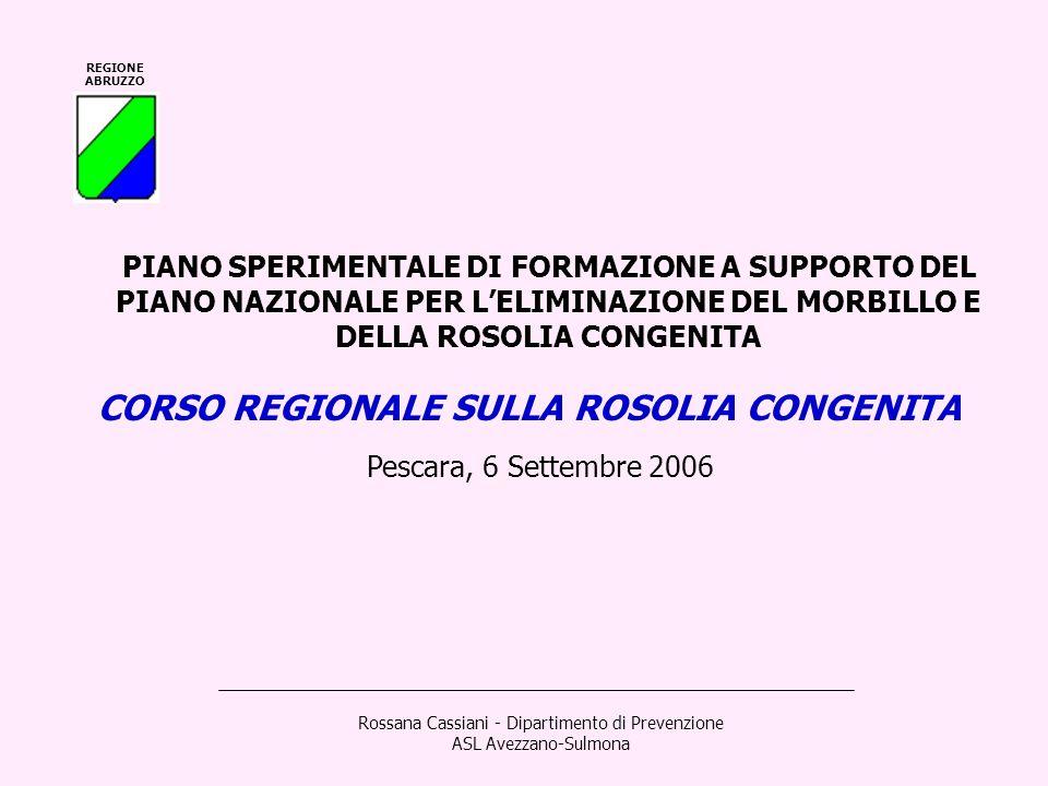 REGIONE ABRUZZO CORSO REGIONALE SULLA ROSOLIA CONGENITA Pescara, 6 Settembre 2006 Rossana Cassiani - Dipartimento di Prevenzione ASL Avezzano-Sulmona