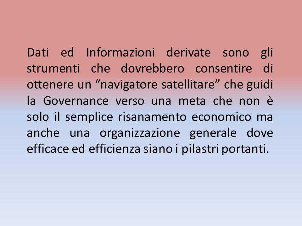 Dati ed Informazioni derivate sono gli strumenti che dovrebbero consentire di ottenere un navigatore satellitare che guidi la Governance verso una met