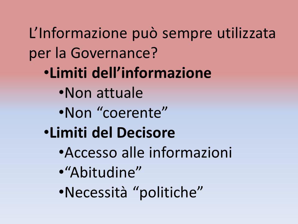 LInformazione può sempre utilizzata per la Governance? Limiti dellinformazione Non attuale Non coerente Limiti del Decisore Accesso alle informazioni
