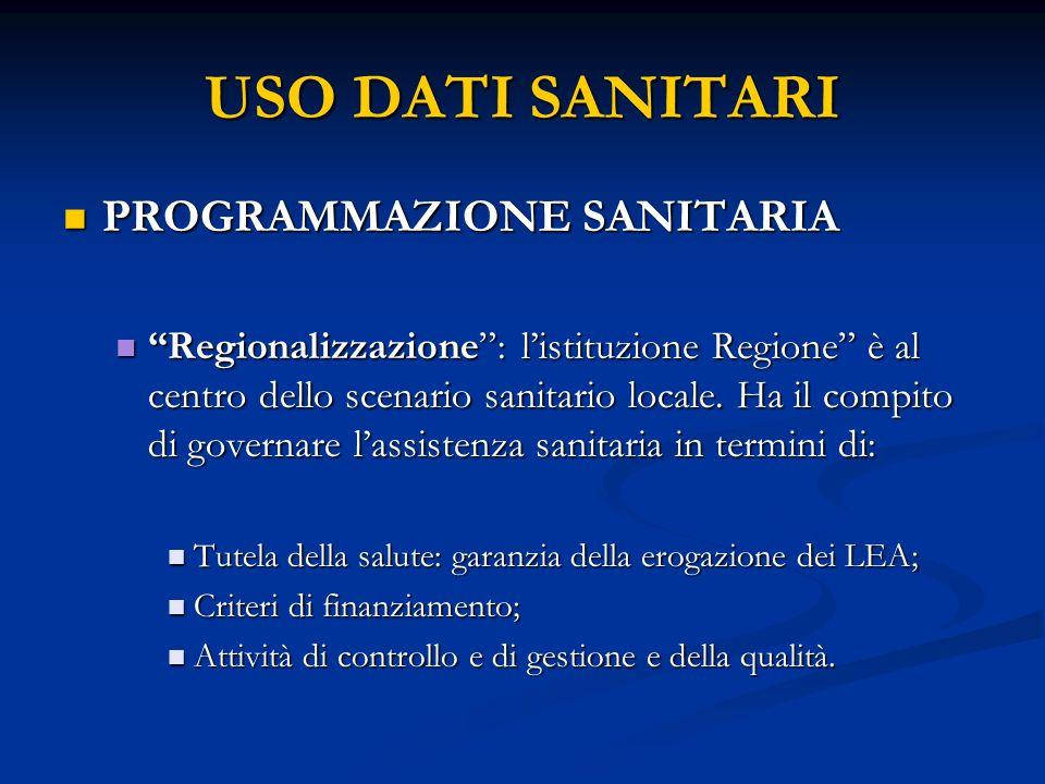 USO DATI SANITARI PROGRAMMAZIONE SANITARIA PROGRAMMAZIONE SANITARIA Regionalizzazione: listituzione Regione è al centro dello scenario sanitario locale.