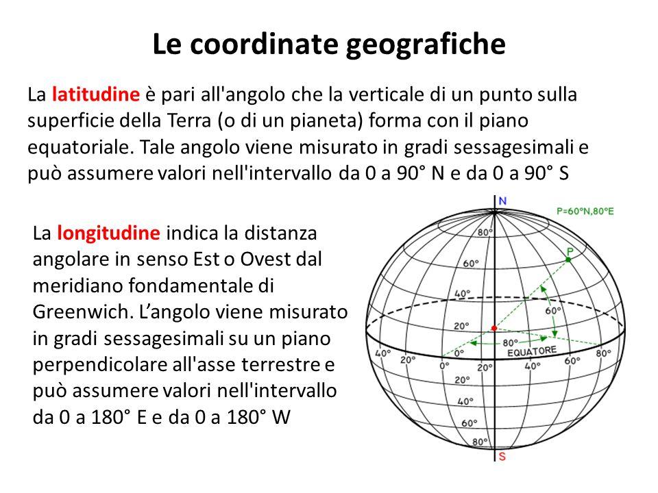 Le coordinate geografiche La latitudine è pari all'angolo che la verticale di un punto sulla superficie della Terra (o di un pianeta) forma con il pia