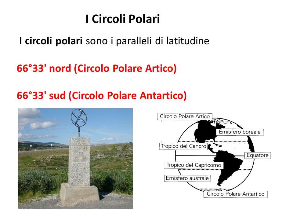 I Circoli Polari I circoli polari sono i paralleli di latitudine 66°33' nord (Circolo Polare Artico) 66°33' sud (Circolo Polare Antartico)