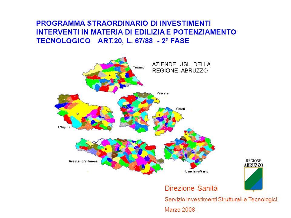 PROGRAMMA STRAORDINARIO DI INVESTIMENTI INTERVENTI IN MATERIA DI EDILIZIA E POTENZIAMENTO TECNOLOGICO ART.20, L. 67/88 - 2° FASE Direzione Sanità Serv