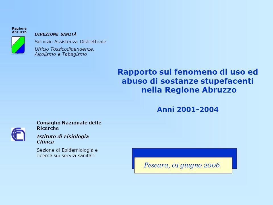 Rapporto sul fenomeno di uso ed abuso di sostanze stupefacenti nella Regione Abruzzo Anni 2001-2004 Consiglio Nazionale delle Ricerche Istituto di Fis