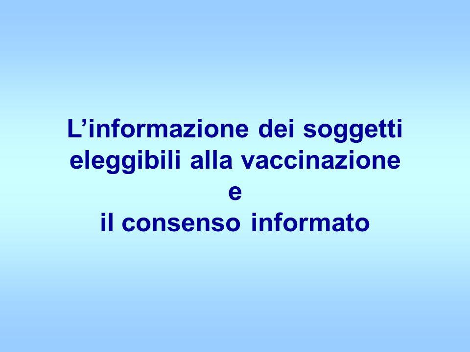 Linformazione dei soggetti eleggibili alla vaccinazione e il consenso informato