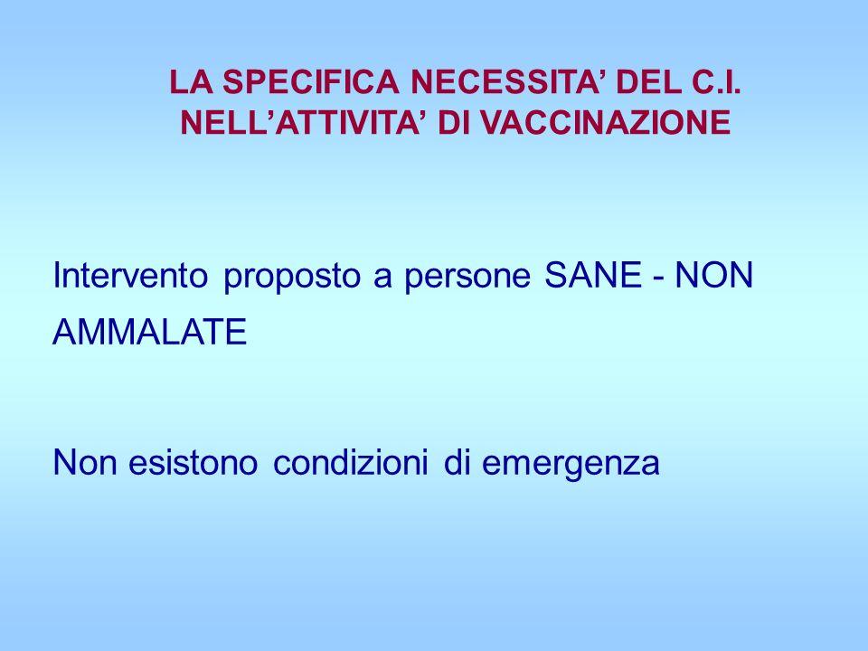 Intervento proposto a persone SANE - NON AMMALATE Non esistono condizioni di emergenza LA SPECIFICA NECESSITA DEL C.I. NELLATTIVITA DI VACCINAZIONE