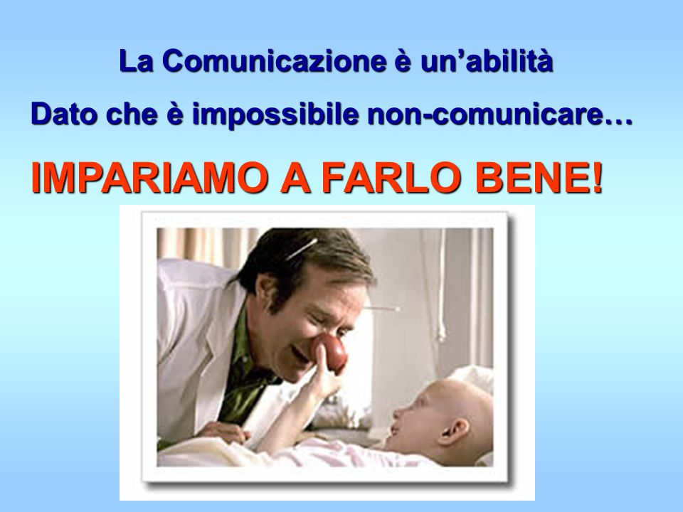 La Comunicazione è unabilità Dato che è impossibile non-comunicare… IMPARIAMO A FARLO BENE!