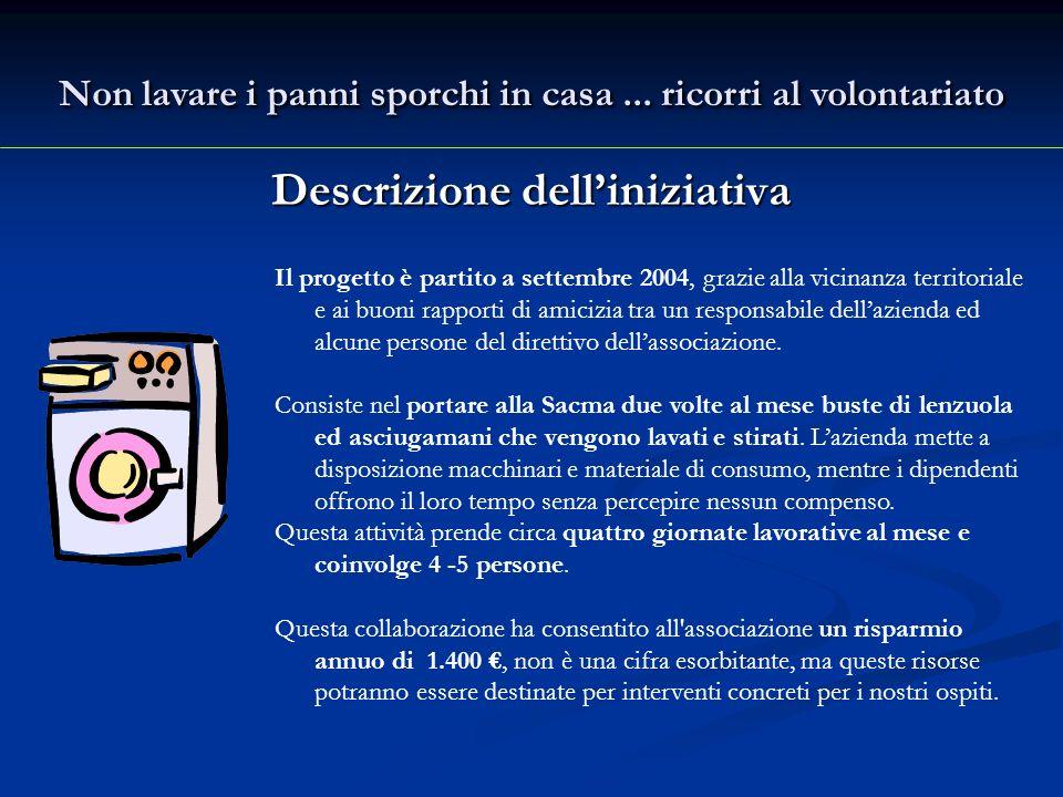 Descrizione delliniziativa Il progetto è partito a settembre 2004, grazie alla vicinanza territoriale e ai buoni rapporti di amicizia tra un responsabile dellazienda ed alcune persone del direttivo dellassociazione.