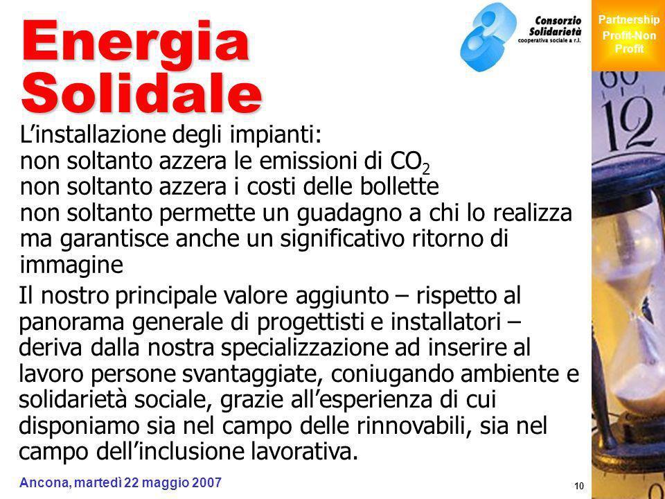 Giochi Senza Barriere Partnership Profit-Non Profit Ancona, martedì 22 maggio 2007 10 Energia Solidale Linstallazione degli impianti: non soltanto azz