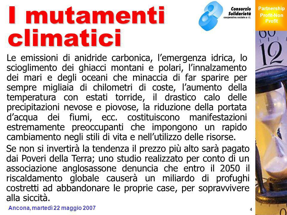 Giochi Senza Barriere Partnership Profit-Non Profit Ancona, martedì 22 maggio 2007 4 I mutamenti climatici Le emissioni di anidride carbonica, lemerge