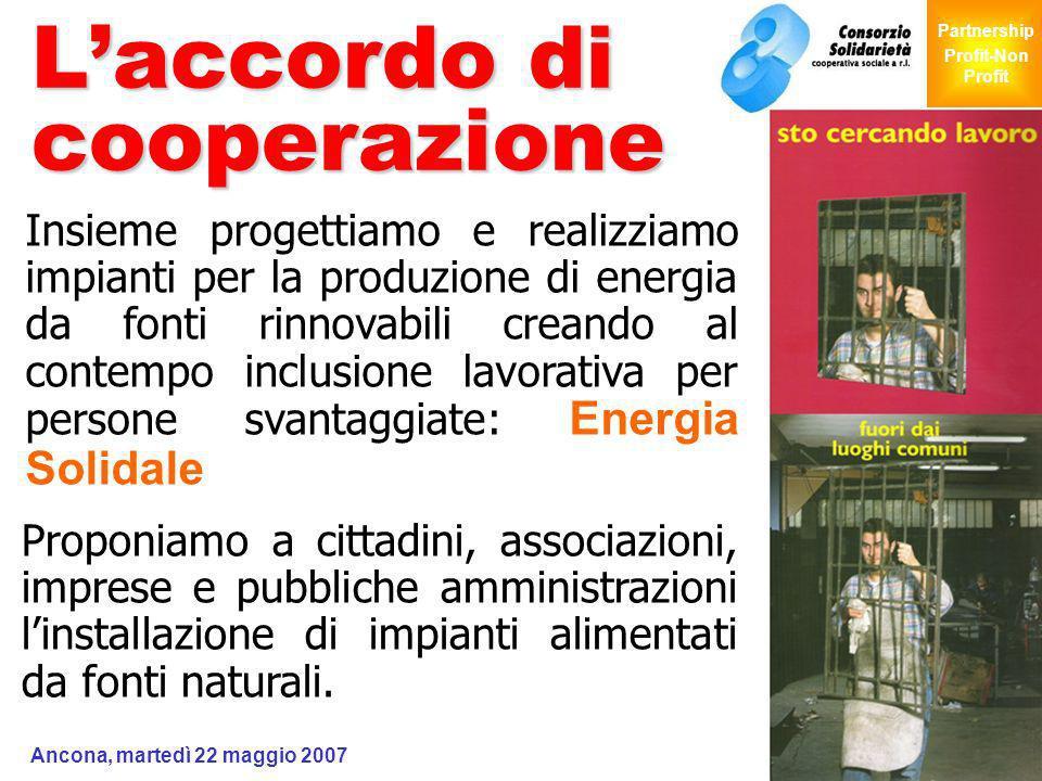 Giochi Senza Barriere Partnership Profit-Non Profit Ancona, martedì 22 maggio 2007 6 Laccordo di cooperazione Insieme progettiamo e realizziamo impian