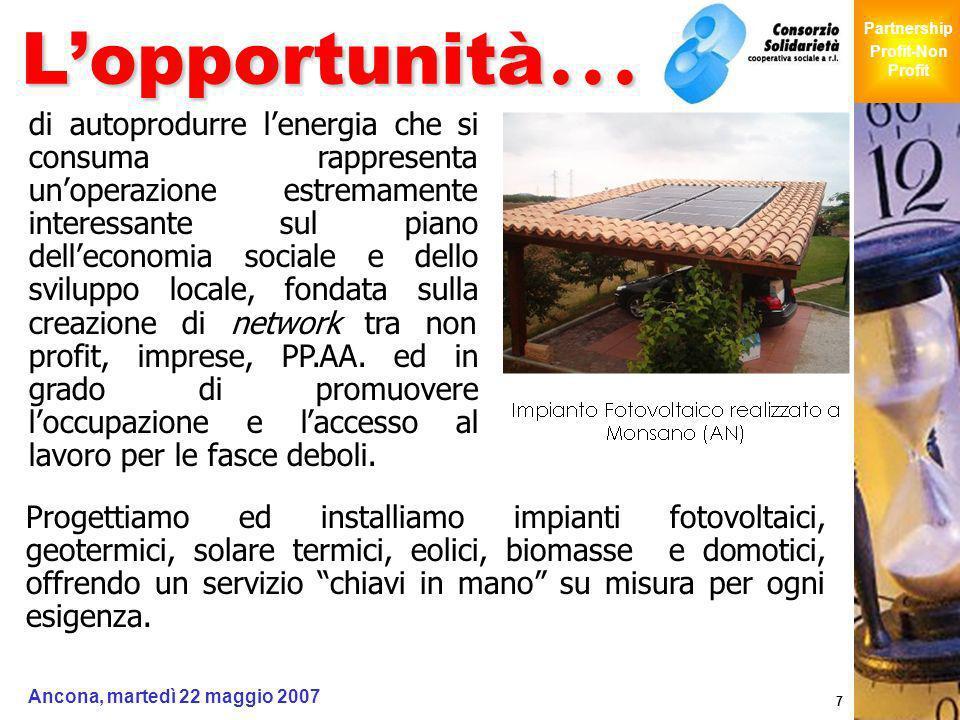 Giochi Senza Barriere Partnership Profit-Non Profit Ancona, martedì 22 maggio 2007 7 Lopportunità … Progettiamo ed installiamo impianti fotovoltaici,