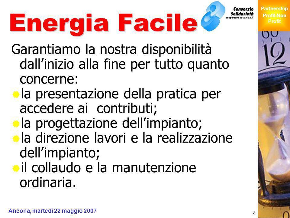 Giochi Senza Barriere Partnership Profit-Non Profit Ancona, martedì 22 maggio 2007 8 Energia Facile Garantiamo la nostra disponibilità dallinizio alla