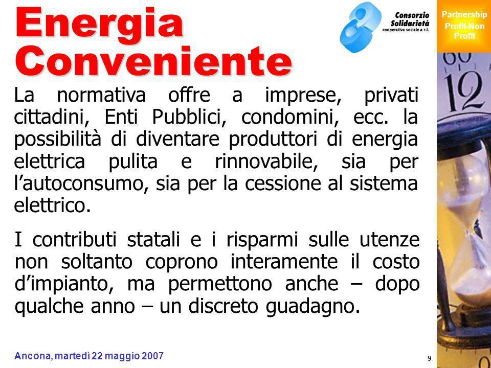 Giochi Senza Barriere Partnership Profit-Non Profit Ancona, martedì 22 maggio 2007 9 Energia Conveniente La normativa offre a imprese, privati cittadi