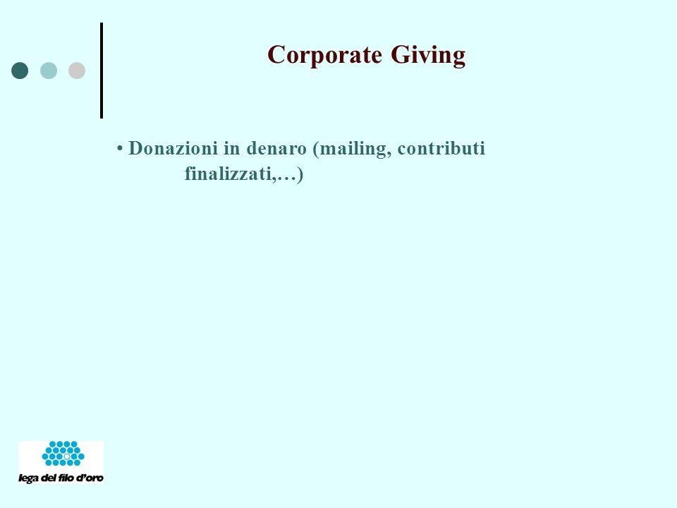 Donazioni in denaro (mailing, contributi finalizzati,…)