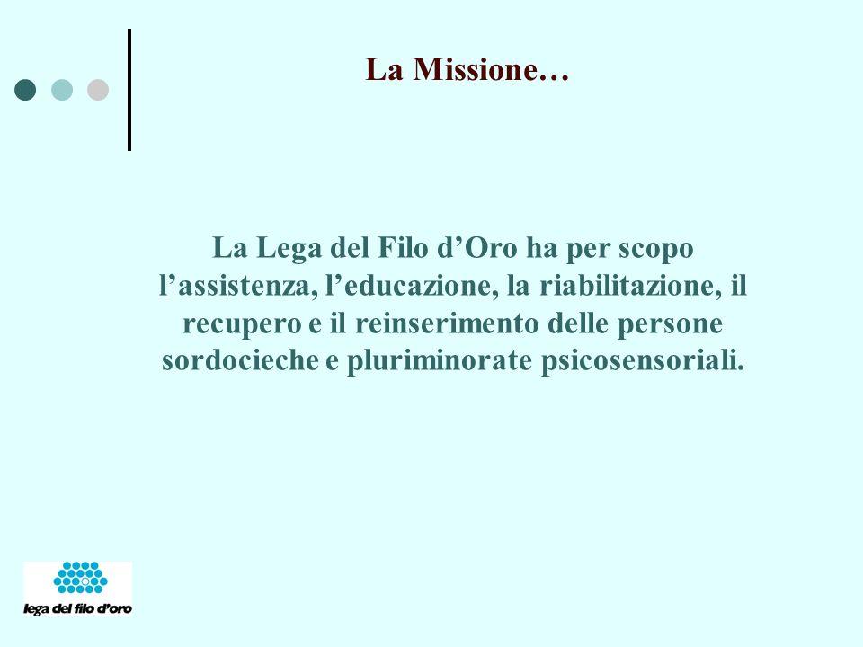 La Missione… La Lega del Filo dOro ha per scopo lassistenza, leducazione, la riabilitazione, il recupero e il reinserimento delle persone sordocieche e pluriminorate psicosensoriali.