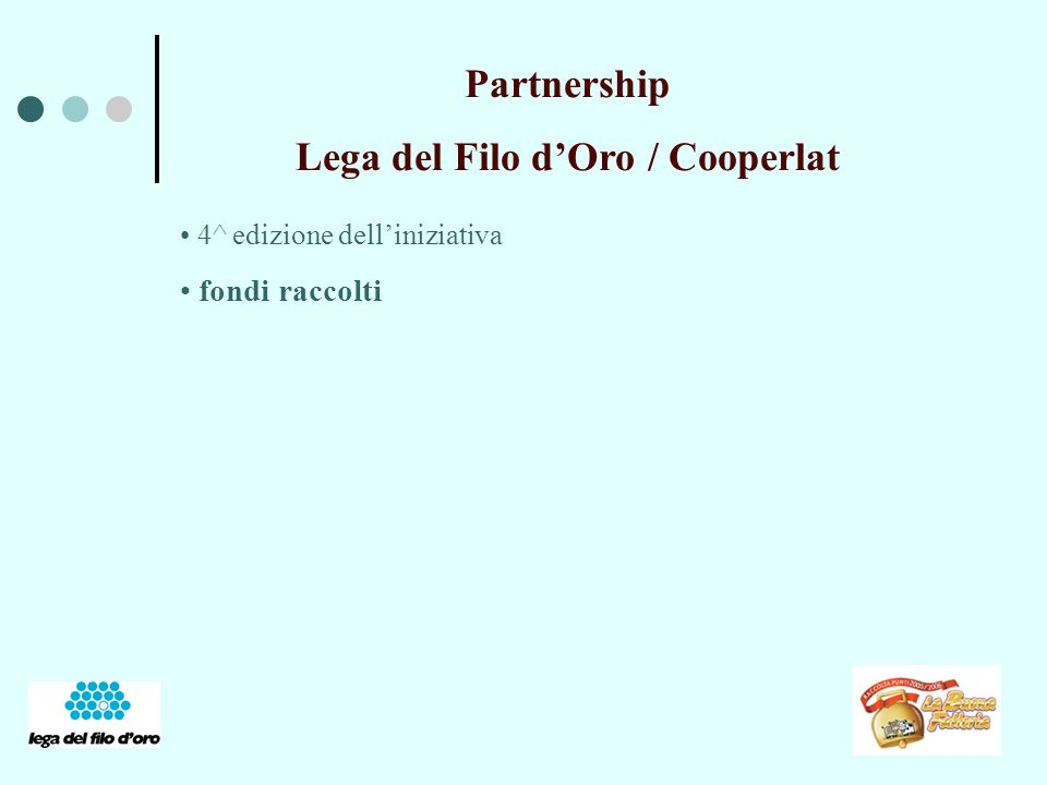 Partnership Lega del Filo dOro / Cooperlat 4^ edizione delliniziativa fondi raccolti